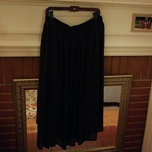 Sheer lined flowy black maxi skirt stretchy XL